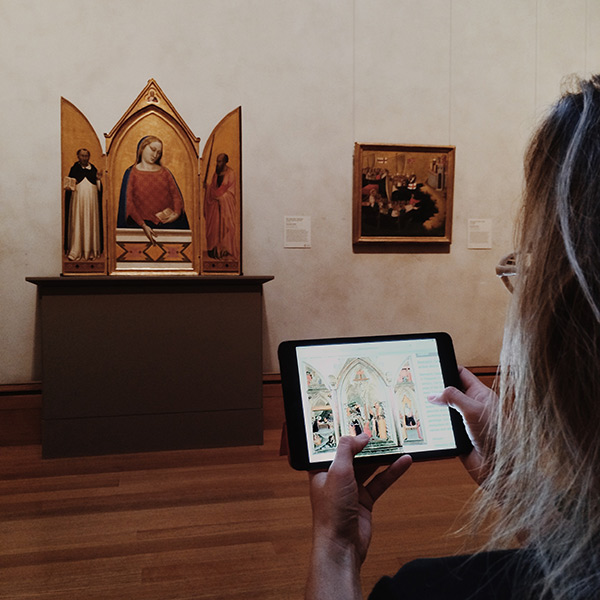 Digital tools enable visitors, and art historians, to pursue a widening web of connections. In the Getty Center galleries with Madonna, Saint Thomas Aquinas, and Saint Paul, about 1330, Bernardo Daddi. Tempera and gold leaf on panel, 47 1/2 x 22 in. The J. Paul Getty Museum, 93.PB.16
