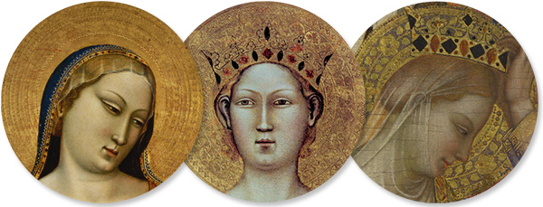 Punch work (designs punched into gold) was used in late-medieval Italian painting to adorn haloes. Left: Madonna, Saint Thomas Aquinas, and Saint Paul (detail), about 1330, the J. Paul Getty Museum. Center: St Catherine of Alexandria with Donor and Christ Blessing (detail), about 1340, Museo dell'Opera di Santa Maria del Fiore di Firenze. Right: The Coronation of the Virgin (detail), about 1340-45, the National Gallery, London